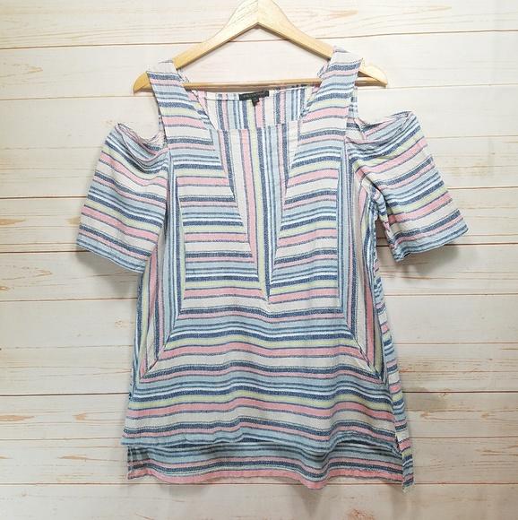 1381e545a39 For Cynthia Tops | Linen Blend Cold Shoulder Top Xl | Poshmark